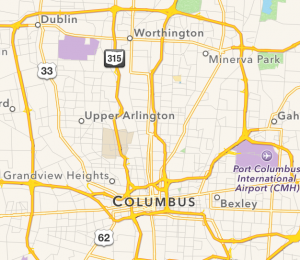 Map of central, Ohio.