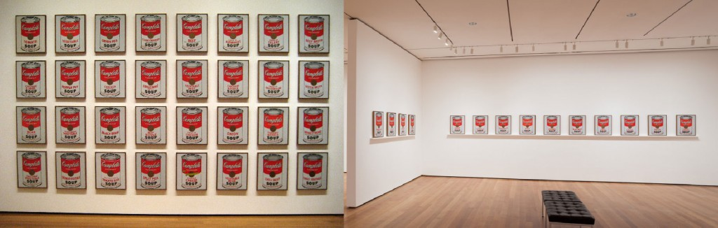 Left: ordinary way of installing Campbell Soup Cans. Right: MoMA way of doing it.