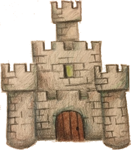 The castle decoration drawing with a transparent background.