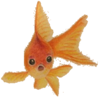 The goldfish drawing with a transparent background.