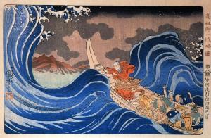 Image 9: Nichiren Calms a Storm in Kakuda (1835) by Utagawa Kuniyoshi