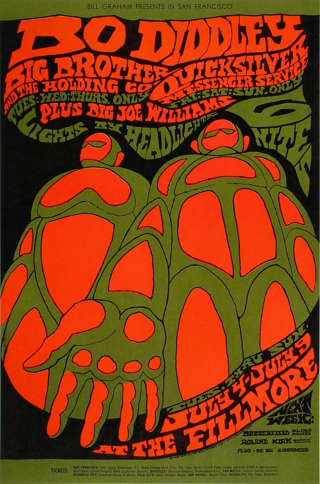 A 1967 concert poster by counterculture artist Bonnie MacLean. Notice the subtler lines, dimmer colors, hand-drawn lines, and paper look.