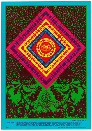 A concert poster for Big Brother and the Holding Company in the Avalon Ballroom (1966) by Victor Moscoso, another counterculture artist. Like in Moscoso's work, I also plan to explore the abstract elements of psychedelic art and the contrasts between bright colors.