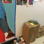 My work station, part 1: look at all the different containers of mixed paint I had!