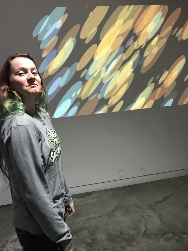 Kelsey at Projector Night