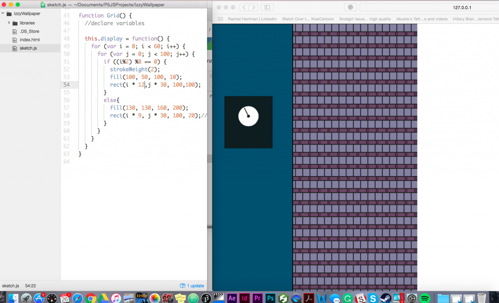 Stage One of Scrolling Wallpaper Assignment --adding the grid