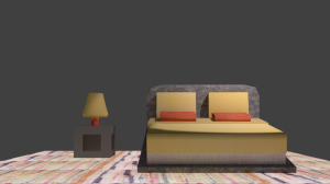 "3D model of a bed (made in Blender) ft. Jenny Holzer's ""This is no Fantasy"""