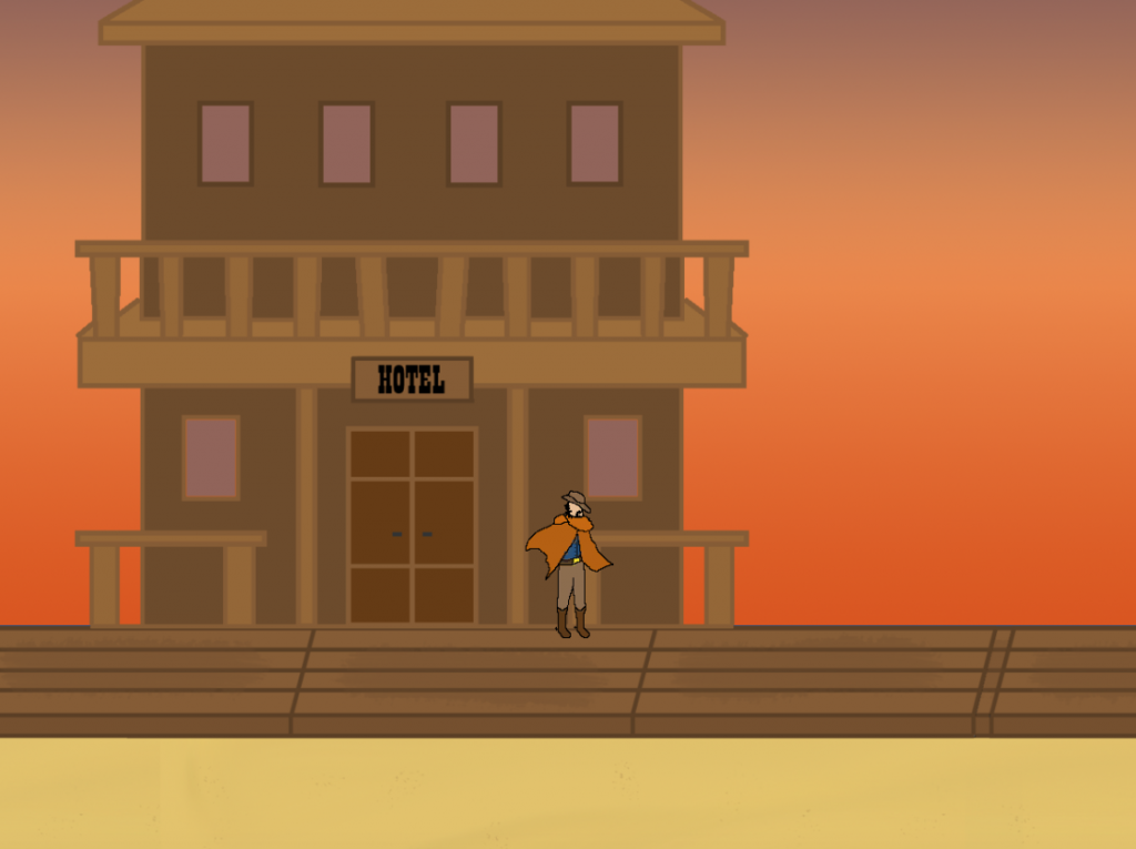 The color of the buildings in the town blends in with the orange sky in the background.