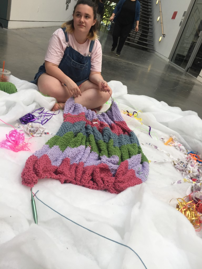 Madeline with the blanket before the installation started